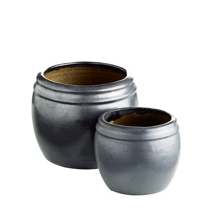 Pot in ceramic, matt, set of 2, M, phantom