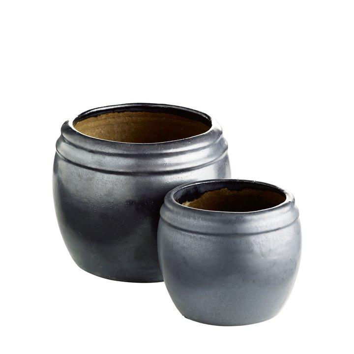 Pot in ceramic, matt, set of 2, M, phantom