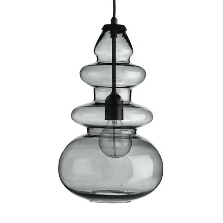 Glass pendant w. black top, D 23 x H 43 cm, grey