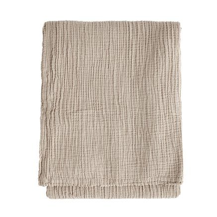 Throw, solid col, 140 X 200 cm, cotton, hazel