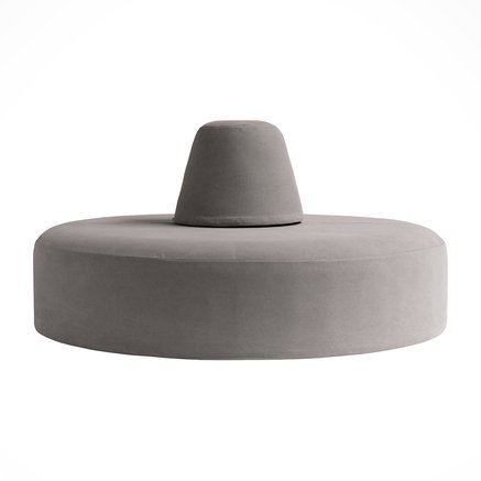 Pouf w.backrest, round