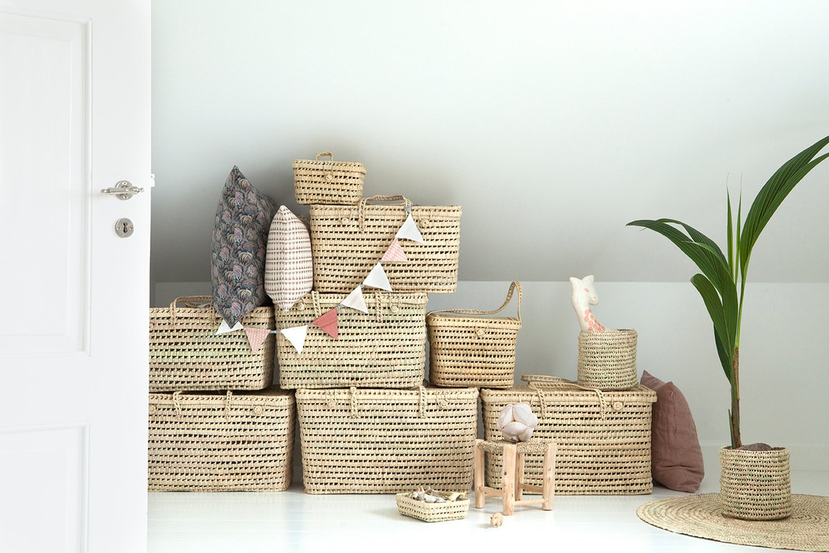 Baskets for kids room are perfect for a decorative and practical decor idea