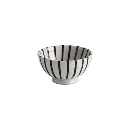 Handmade ceramic bowl with stripes, D 13 x H 7, black