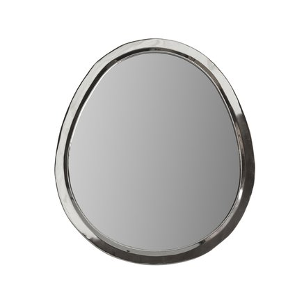 Egg shaped mirror with white silver frame, size XL