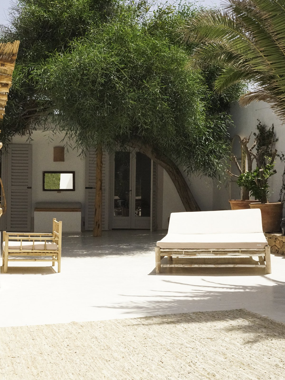 Bamboo and rattan furniture at the beautiful Etosoto Formentera