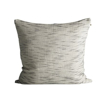 Thick woven cushion cover with horisontal stripes, 60 x 60 cm, black