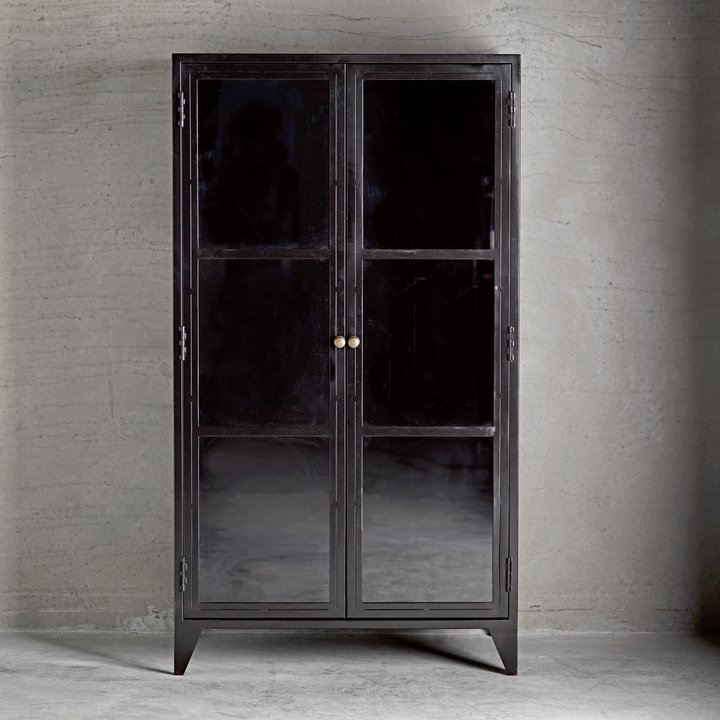 Metal Cabinet W. Shelves And Glass Doors, Black | Products | Tine K Home Part 34