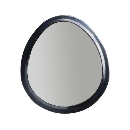 Egg shaped mirror in oxidized brass frame, size XL