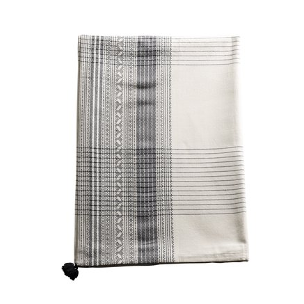 Table cloth, w. dobby border, 170x250, cotton, black