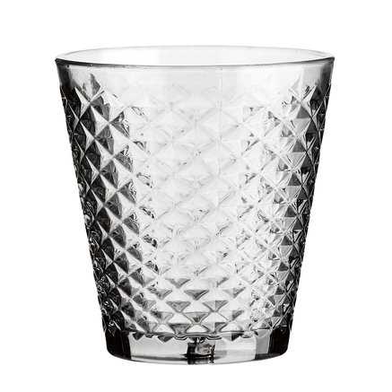 Facet vase, grey glass