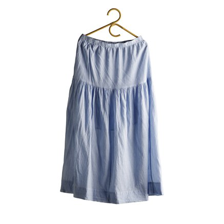 Long skirt in light woven cotton, baby blue size M/L