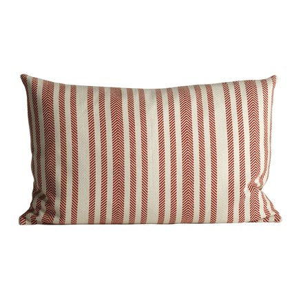 Thick herringbone woven cushion with stripes, 50 x 75 cm, red