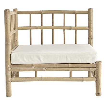 Bamboo lounge corner module with white cushion