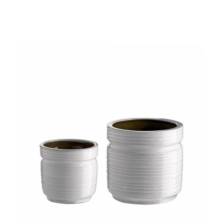 Pot in ceramic w. lines, set of 2, white