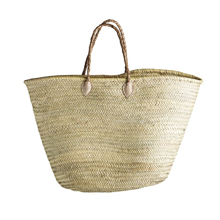 Shopping Basket W Pleated Leather Handles Products Tine K Home