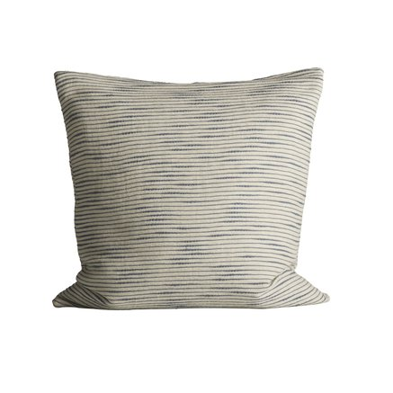 Thick woven cushion cover with horisontal stripes, 60 x 60 cm, azul