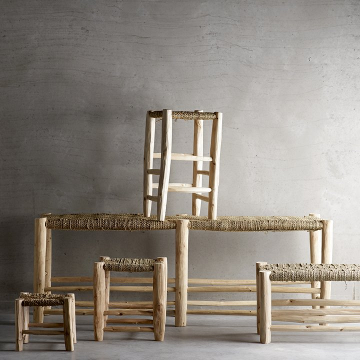 Enjoyable Bench In Palm Leaf Wood 40X138Xh50 Creativecarmelina Interior Chair Design Creativecarmelinacom