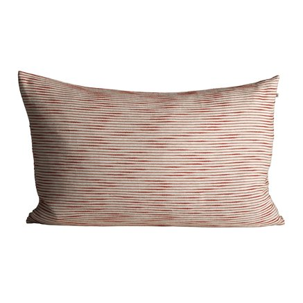Thick woven cushion cover with horisontal stripes, 50 x 75 cm, red