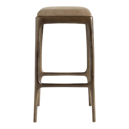 Bar stool, recycled aluminium, 40x40xH75 cm,walnut