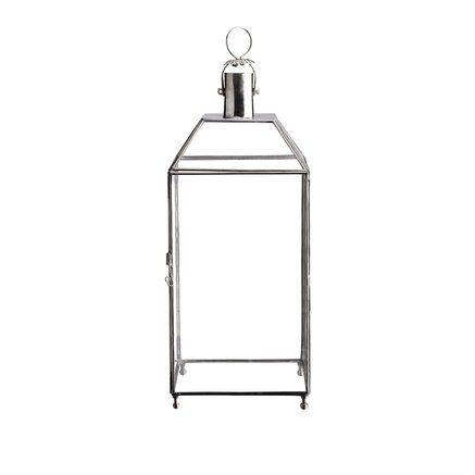 Simple sqaure glass lantern in white silver, size M