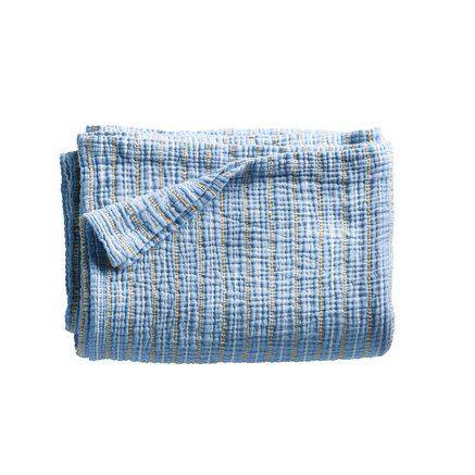 Bed throw in fine woven and stribed texture, 140 x 220 cm, baby blue