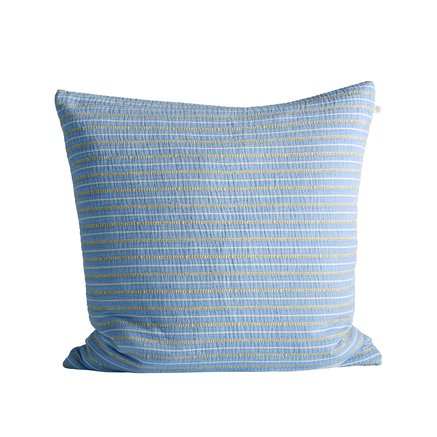 Cushion cover in fine woven and striped texture, 60 x 60 cm, baby blue