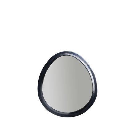 Egg shaped mirror in oxidized brass frame, size M