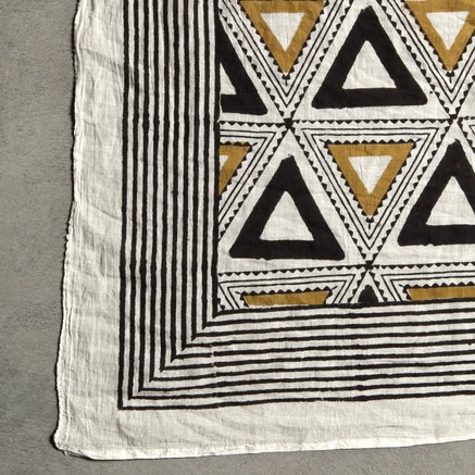Scarf, hand printed, 120 x 180 cm, 100% cotton, curry