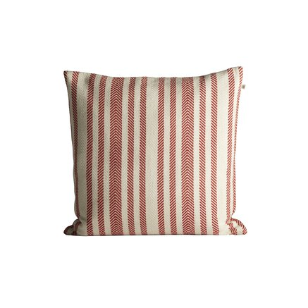 Thick herringbone woven cushion with stripes, 50 x 50 cm, red