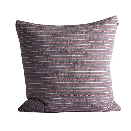 Cushion cover in fine woven and striped texture, 60 x 60 cm, purple