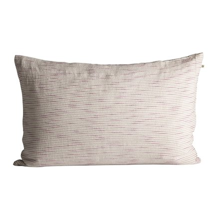 Thick woven cushion cover with horisontal stripes, 50 x 75 cm, pink