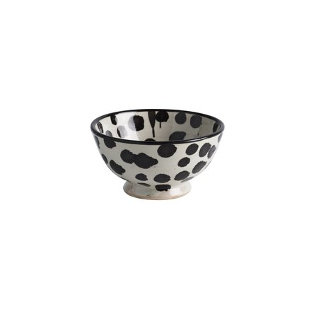 Handmade ceramic bowl with dots, D 13 x H 7, black