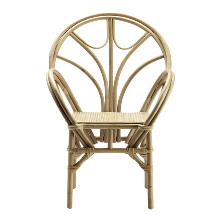 Dining chair in rattan with armrest