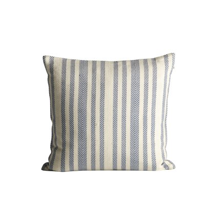 XThick herringbone woven cushion with stripes, 50 x 50 cm, azul