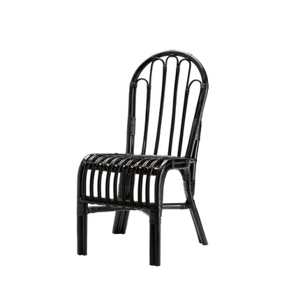 Chair in rattan, black