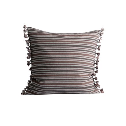 Cushion cover, 50 x 50 cm, cotton, striped, thunder