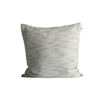 Thick woven cushion cover with horisontal stripes, 50 x 50 cm, azul