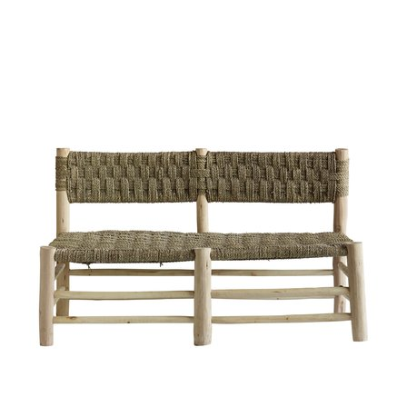 Low sofa in palmleaf/wood, 58 x 120 x H 75 cm