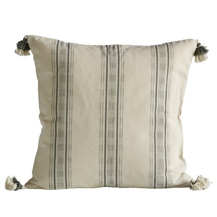 Cushion cover, w. tassels, 50x50 cm, bomuld, agave