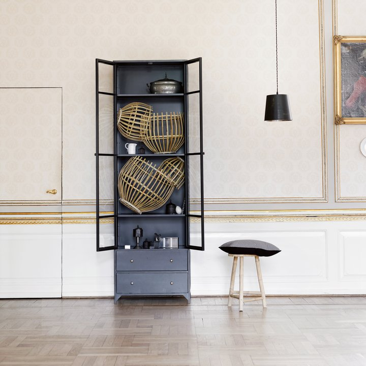 Cabinet In Metal W Glass Doors And 2 Drawers Black