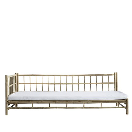 Bamboo lounge bed with white mattress, left