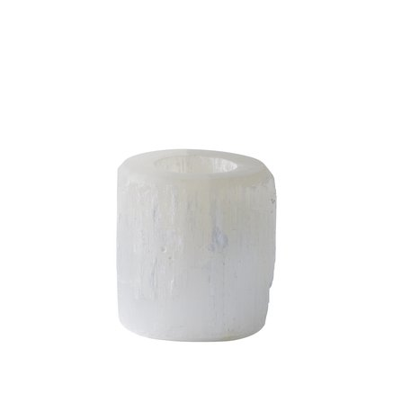 Tea candle stick, selinite, dia. 7,5xH8 cm, white