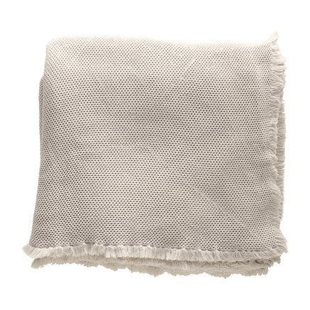 Bed throw, honeycombed, 260x260 cm, cotton, sand