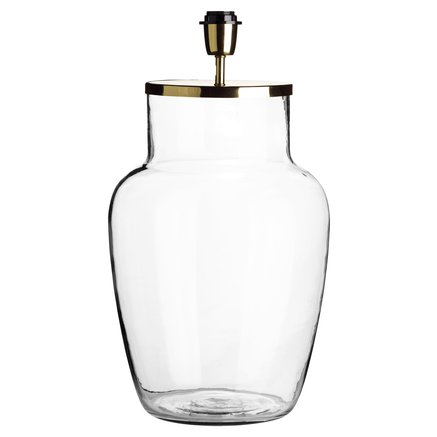 Glass lamp w. brass top, D 30 x H 55 cm, clear