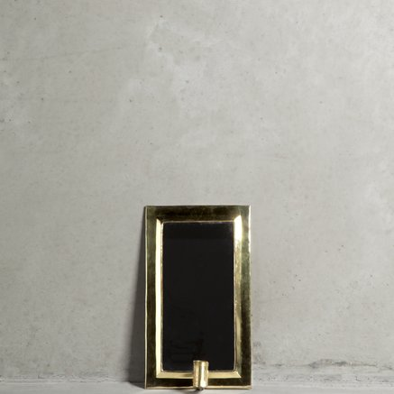 Mirror w. holder for candle, 18 x 30 cm, brass