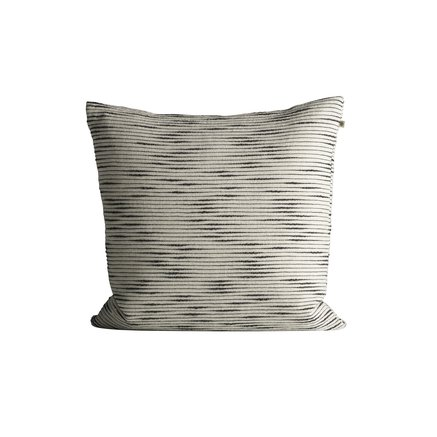 Thick woven cushion cover with horisontal stripes, 50 x 50 cm, black