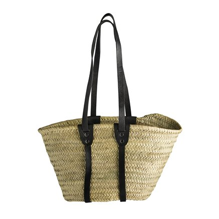 Hand bag in straw with long leather handles, black