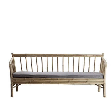 Lounge sofa in bamboo with grey mattress