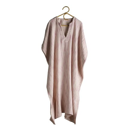 Thick woven kaftan in cotton, pink