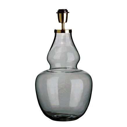 Glass lamp w. brass top, D 25 x H 50 cm, grey